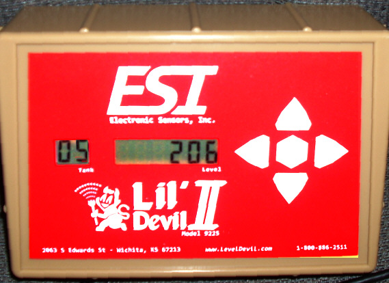 Level Devil II front panel - Tank 05 shows 206 gallons